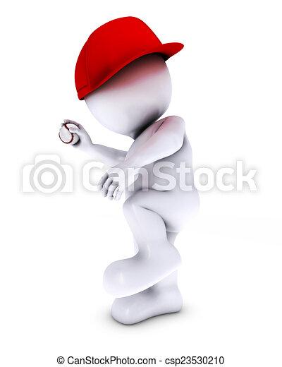 morph man playing baseball - csp23530210