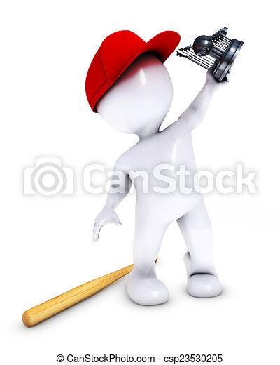 morph man playing baseball - csp23530205