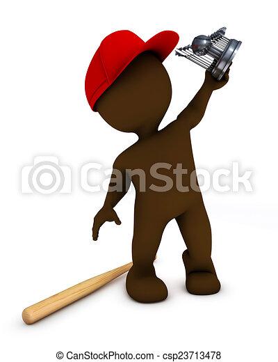 morph man playing baseball - csp23713478