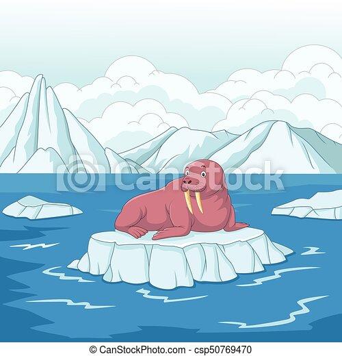 Morse dessin anim banquise glace glace vecteur - Dessin banquise ...