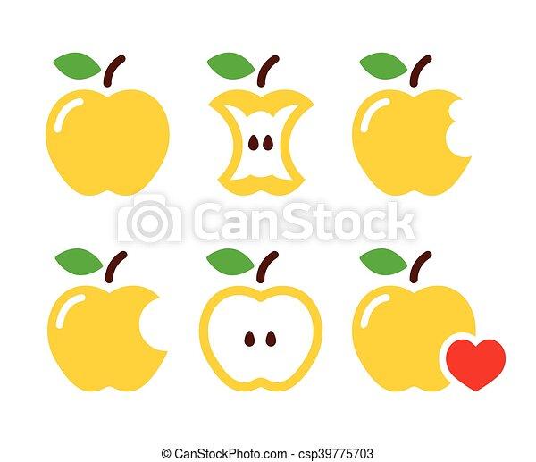 morso, mela, mela, giallo, centro - csp39775703