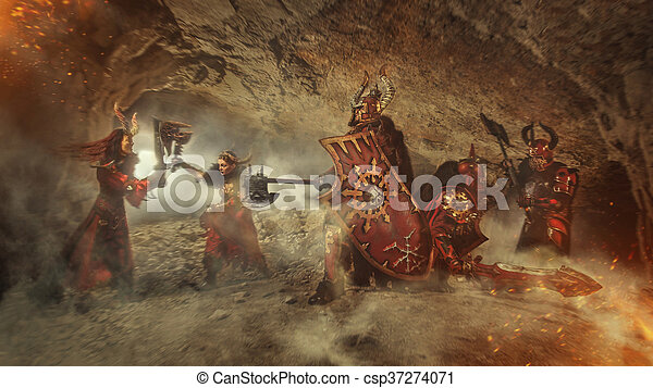 Mortal combat of powerful knights in heavy armor in the Forbidden Caves. - csp37274071