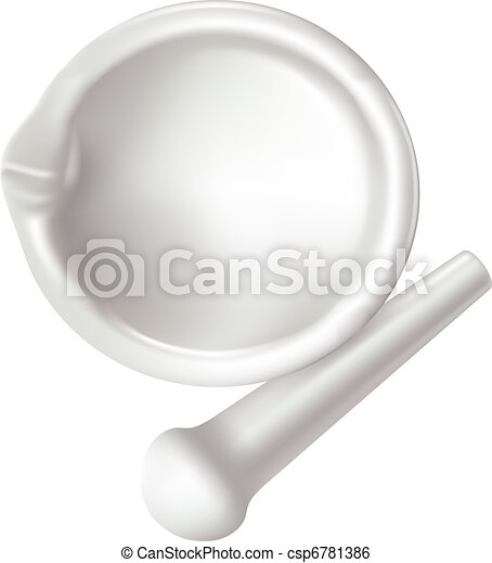 Mortar and pestle on white background. View from above. - csp6781386