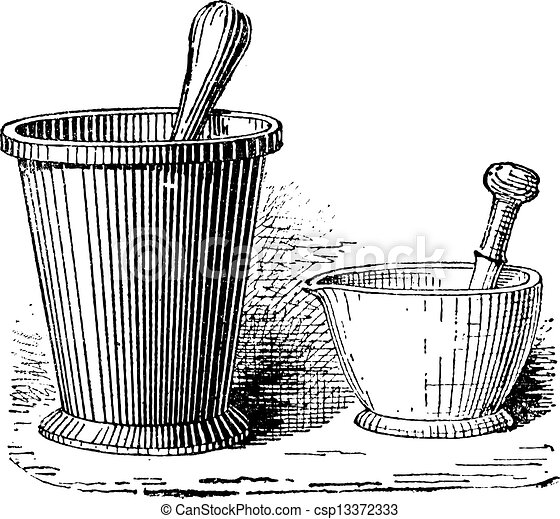 Mortar and Pestle, vintage engraving - csp13372333