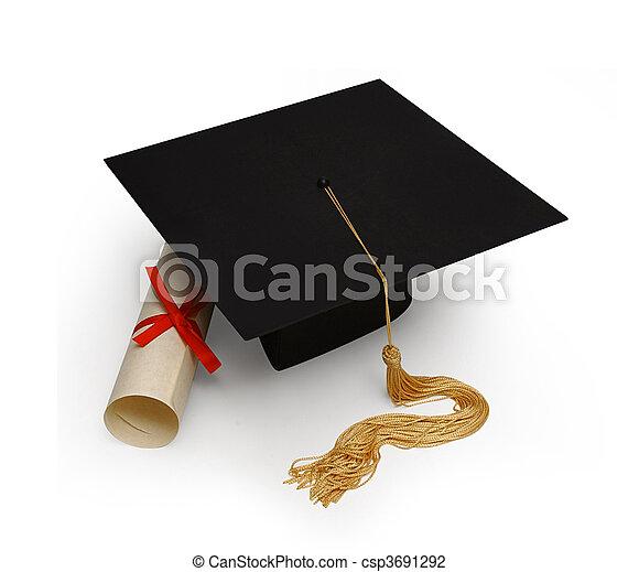 Mortar Board Amp Diploma On White