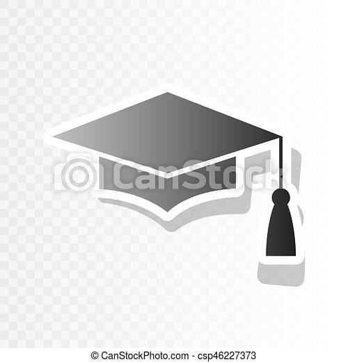 5d060c166 Mortar Board or Graduation Cap, Education symbol. Vector. New year blackish  icon on transparent background with transition.