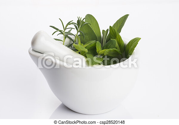 mortar with herbs isolated on a white background - csp28520148