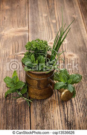 Mortar with herbs - csp13536626