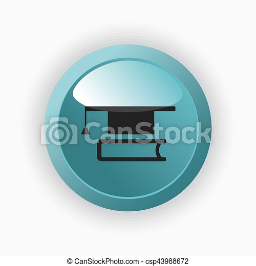 Mortarboard with book icon - csp43988672