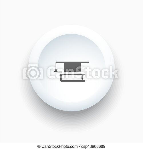 Mortarboard with book icon on button - csp43988689