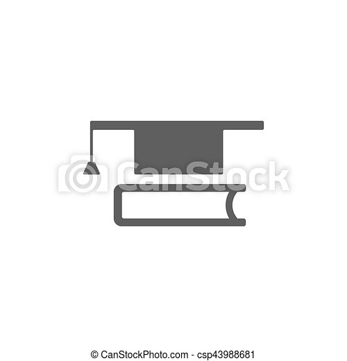 Mortarboard with book icon on white background - csp43988681