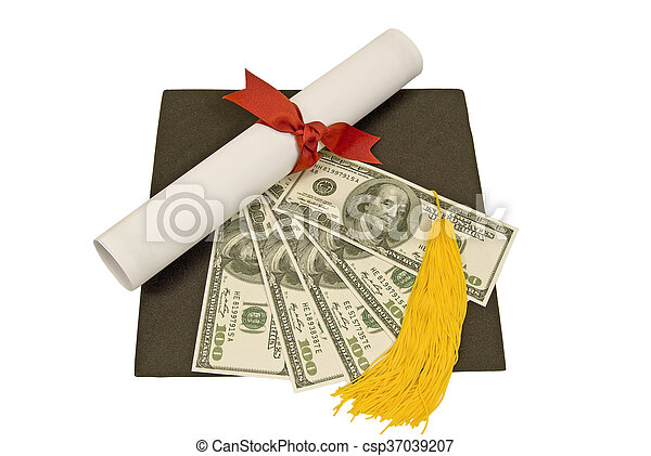 Mortarboard With Diploma and Money - csp37039207