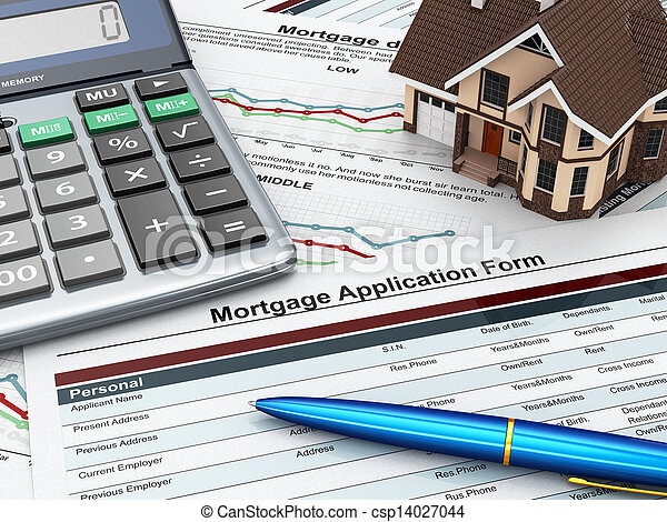 Mortgage application form with a calculator and house. - csp14027044