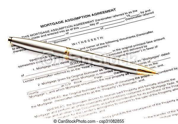 Mortgage Assumption Agreement With A Pen For Signature Stock Images