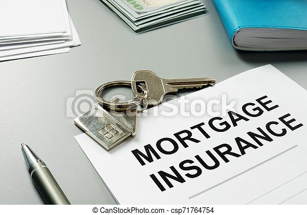 Mortgage insurance application form and pen. - csp71764754