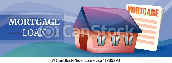 Mortgage Loan Concept Banner Cartoon Style Mortgage Loan Concept Banner Cartoon Illustration Of Mortgage Loan Vector