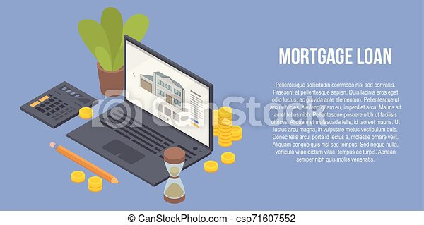 Mortgage Loan Concept Banner Isometric Style Mortgage Loan Concept Banner Isometric Illustration Of Mortgage Loan Vector