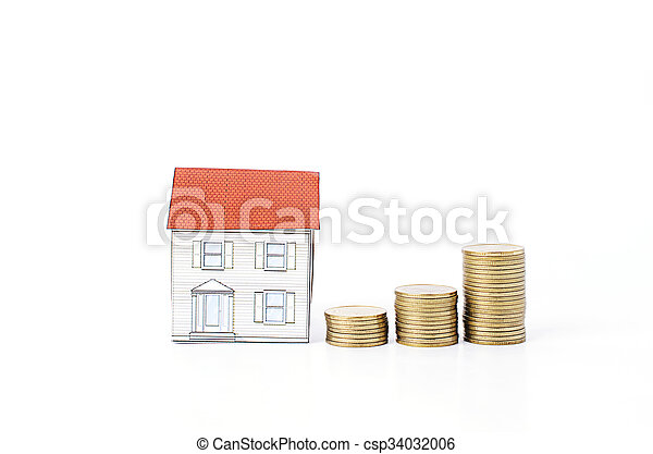 Mortgage loans concept with Coins stack Isolated on white backgrounds - csp34032006