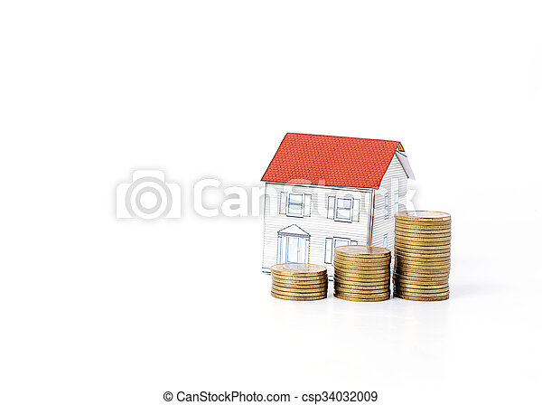 Mortgage loans concept with money coins stack and paper house Isolated on white backgrounds - csp34032009