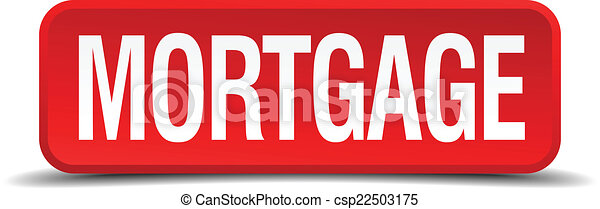 Mortgage red 3d square button isolated on white - csp22503175