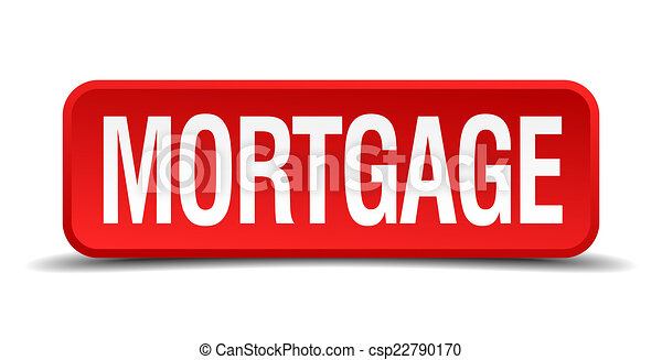 Mortgage red 3d square button isolated on white - csp22790170