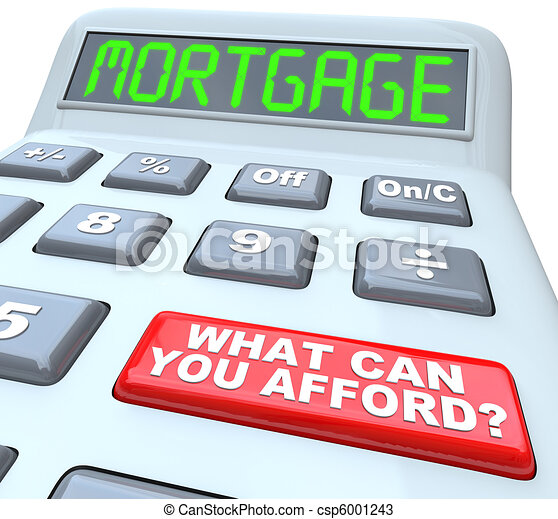 Mortgage What Can You Afford - Words on Calculator - csp6001243
