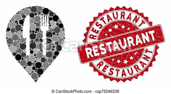 mosaïque, café, cachet, marqueur, gratté, restaurant - csp75046336