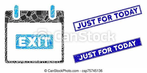 mosaïque, juste, rectangle, aujourd'hui, gratté, timbres, jour, sous-titre, sortie, calendrier - csp75745136