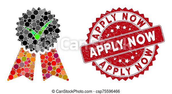 Mosaic Approvement Seal with Grunge Apply Now Stamp - csp75596466