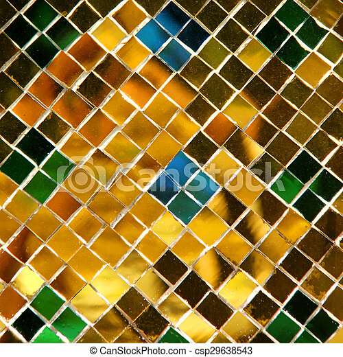 mosaic background made of golden pieces - csp29638543