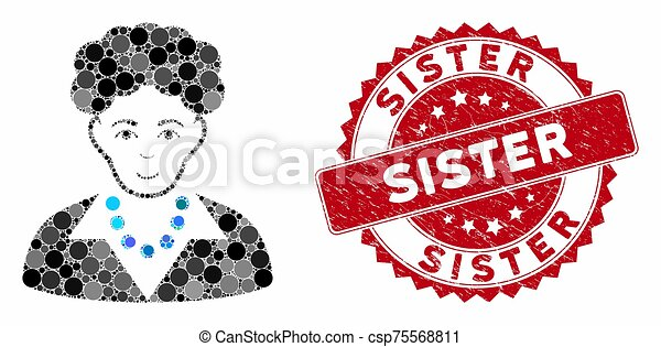 Mosaic Brunette Woman with Distress Sister Stamp - csp75568811
