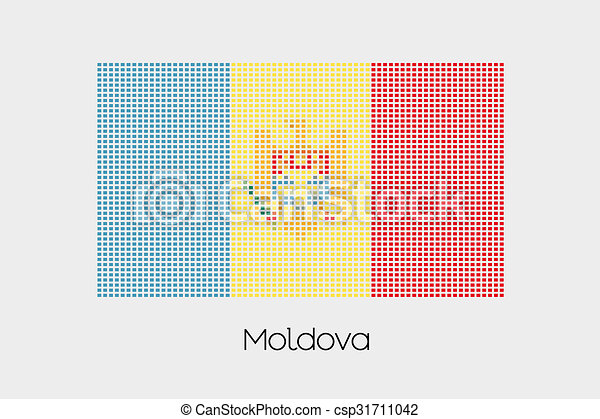 Mosaic Flag Illustration of the country of Moldova - csp31711042