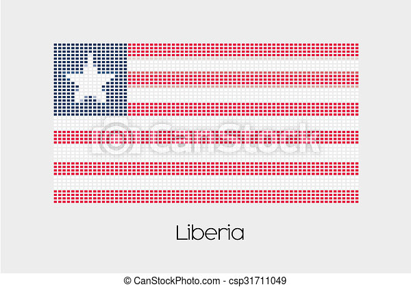 Mosaic Flag Illustration of the country of Liberia - csp31711049