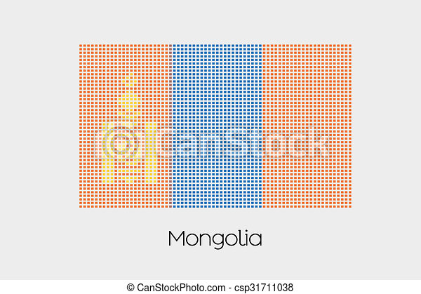 Mosaic Flag Illustration of the country of Mongolia - csp31711038