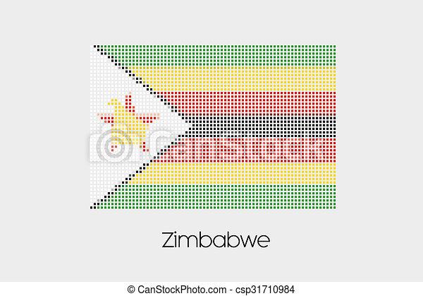 Mosaic Flag Illustration of the country of Zimbabwe - csp31710984