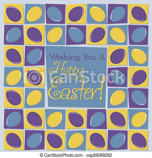 Mosaic funky Easter card in vector format. - csp26089292