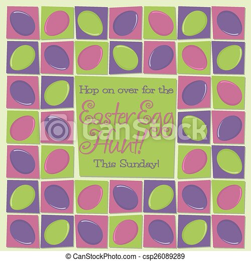 Mosaic funky Easter card in vector format. - csp26089289