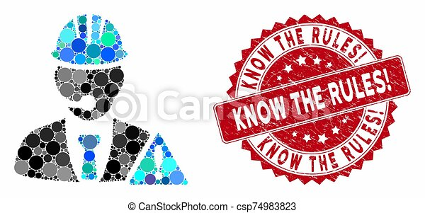Mosaic Industrial Emergency Operator with Scratched Know the Rules! Stamp - csp74983823