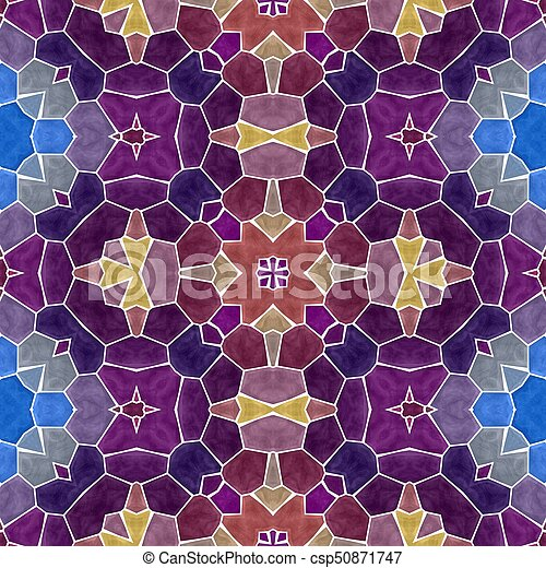 mosaic kaleidoscope seamless pattern texture background - purple and blue colored with white grout - csp50871747