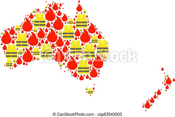 Mosaic Map of Australia and New Zealand with Gilet Jaunes Protests - csp63543003