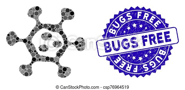 Mosaic Microbe Cell Icon with Grunge Bugs Free Stamp - csp76964519