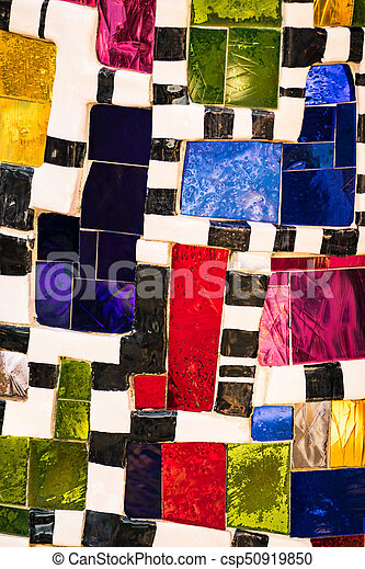Mosaic of colored glass pieces. - csp50919850