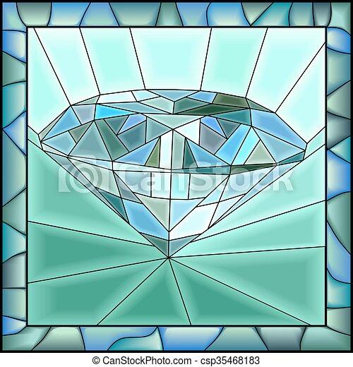 Mosaic of illustration of diamond. - csp35468183