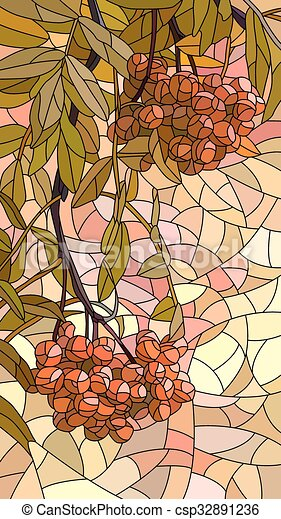 Mosaic of red rowan. - csp32891236