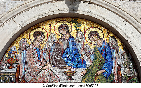 Mosaic over the entrance of the Holy Trinity Orthodox Church in Budva, Montenegro - csp17995326