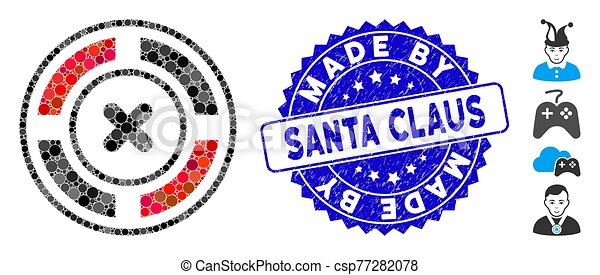 Mosaic Roulette Icon with Distress Made by Santa Claus Seal - csp77282078