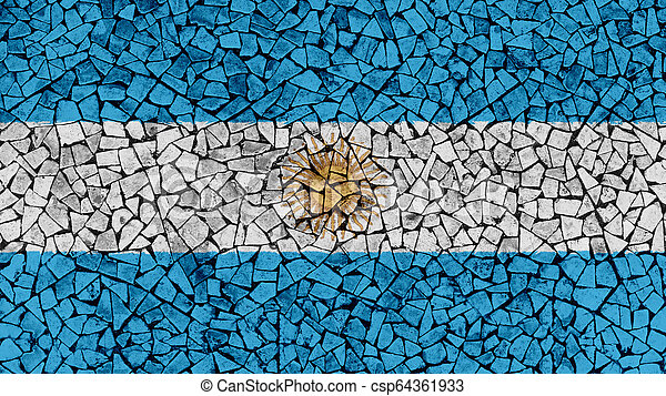 Mosaic Tiles Painting of Argentina Flag - csp64361933