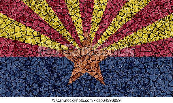 Mosaic Tiles Painting of Arizona Flag - csp64396039
