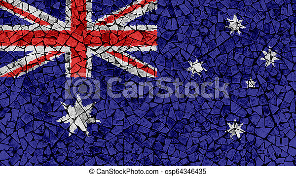 Mosaic Tiles Painting of Australia Flag - csp64346435
