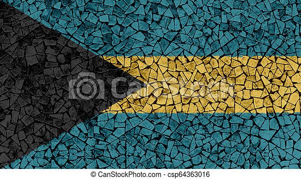 Mosaic Tiles Painting of Bahamas Flag - csp64363016